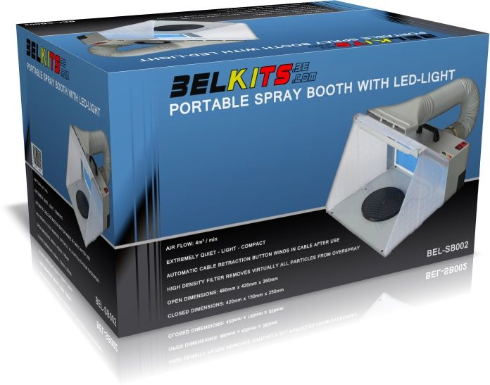 Belkits BELSB002 Portable Spray Booth with LED-light for Airbrush