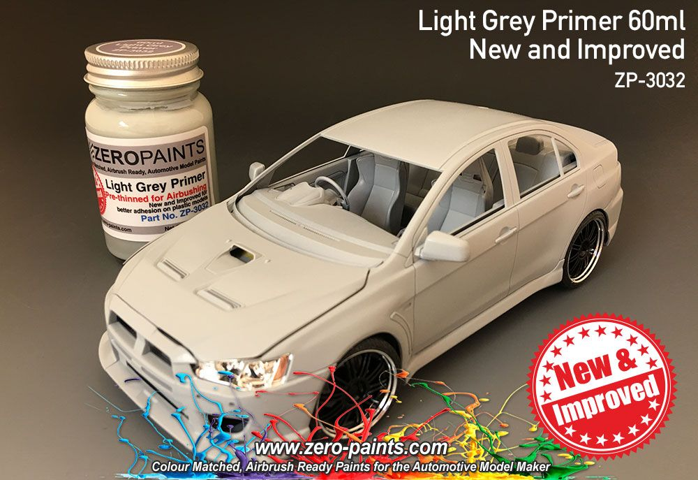 ZERO Paint ZP-3032 Light Grey Primer 60ml Airbrush Ready - New and Improved