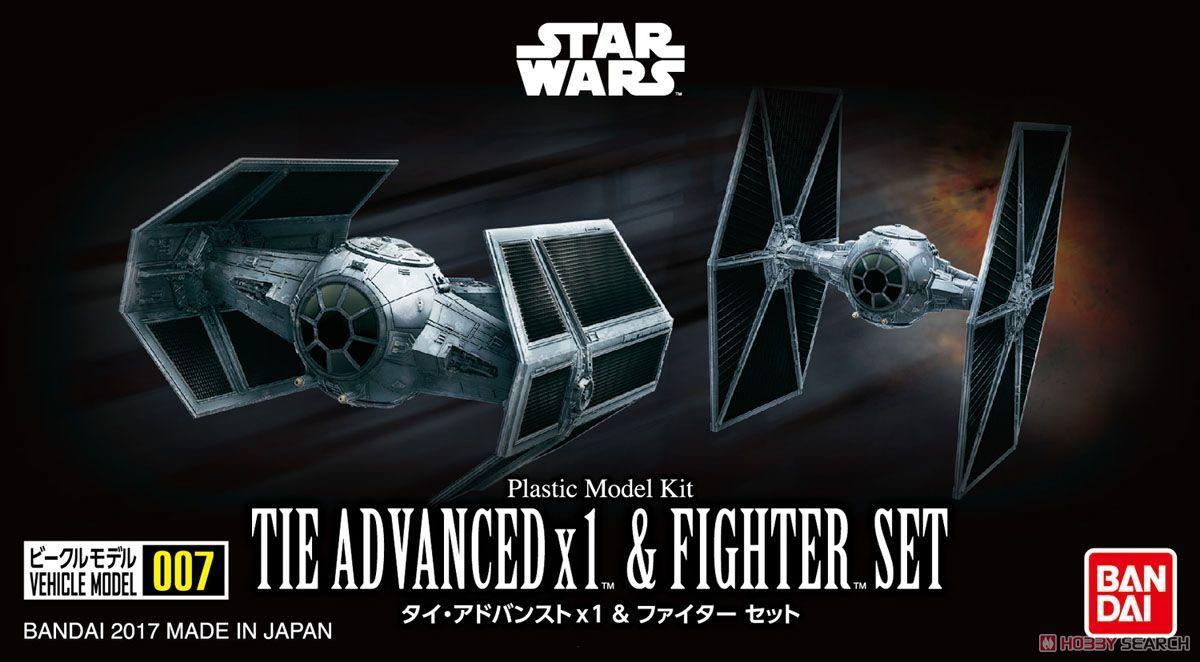 Bandai 0214502 Vehicle Model 007 Tie Advanced x1 & Fighter Set kit