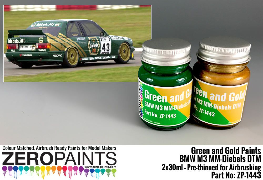 ZERO Paint ZP-1443 BMW M3 MM-Diebels DTM - Green and Gold Paint Set 2x30ml