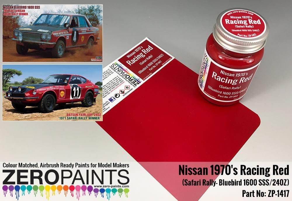 ZERO Paint ZP-1417 Racing Red Nissan 1970's Safari Rally Bluebird 1600 SSS-240Z