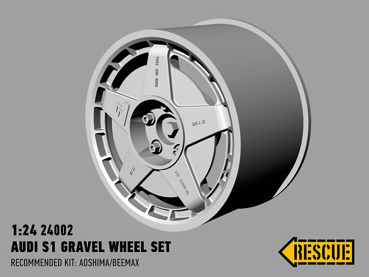 Rescue Models 24002 Audi S1 gravel wheel set