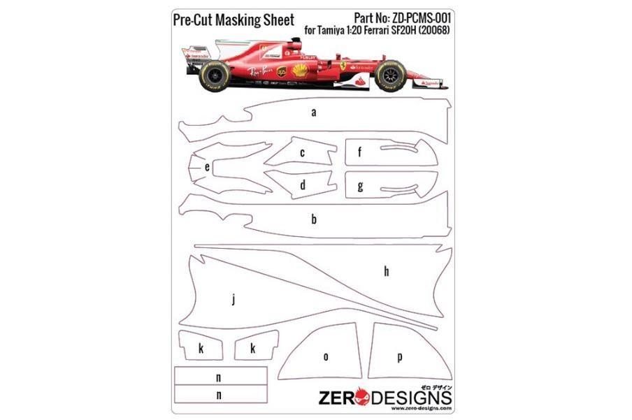 ZERO Design ZD-PCMS-001 Pre-Cut Masking Sheet for Tamiya Scuderia Ferrari SF70H (20068)