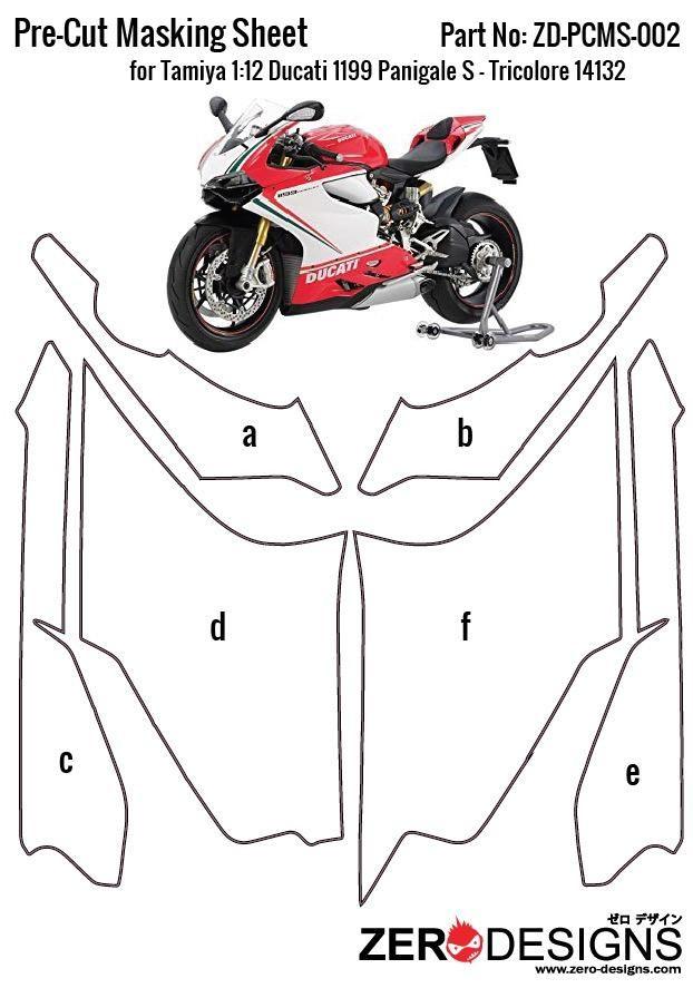 ZERO Design ZD-PCMS-002 Pre-Cut Masking Sheet Tamiya Ducati 1199 Panigale S - Tricolore 14132