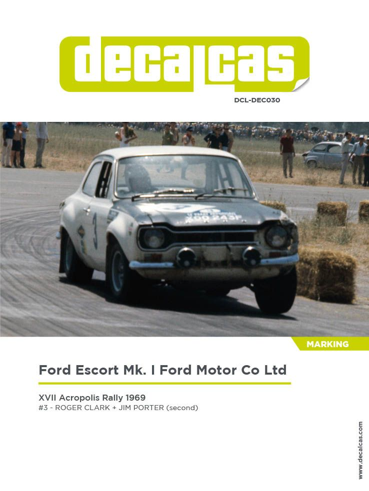 Decalcas DCL-DEC030 Ford Escort Mk. I - Ford Motor Co Ltd - Acropolis Rally 1969 #3 - Roger Clark + Jim Porter (second)
