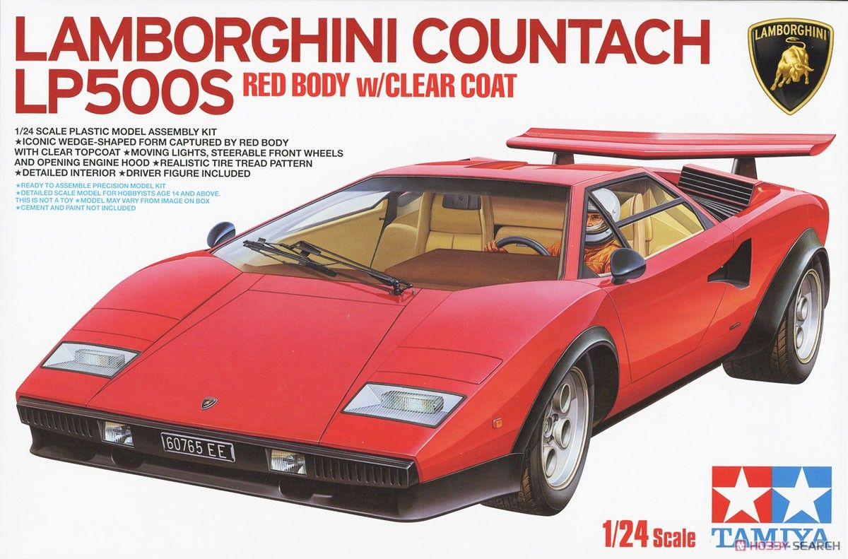 Tamiya 25419 Lamborghini Countach LP500S (Clear Coat Red Body)