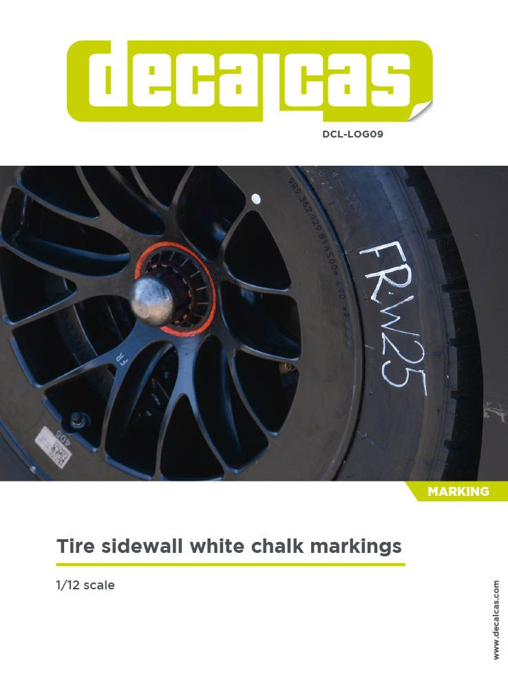 Decalcas LOG009 Tire sidewall white chalk markings 1/12