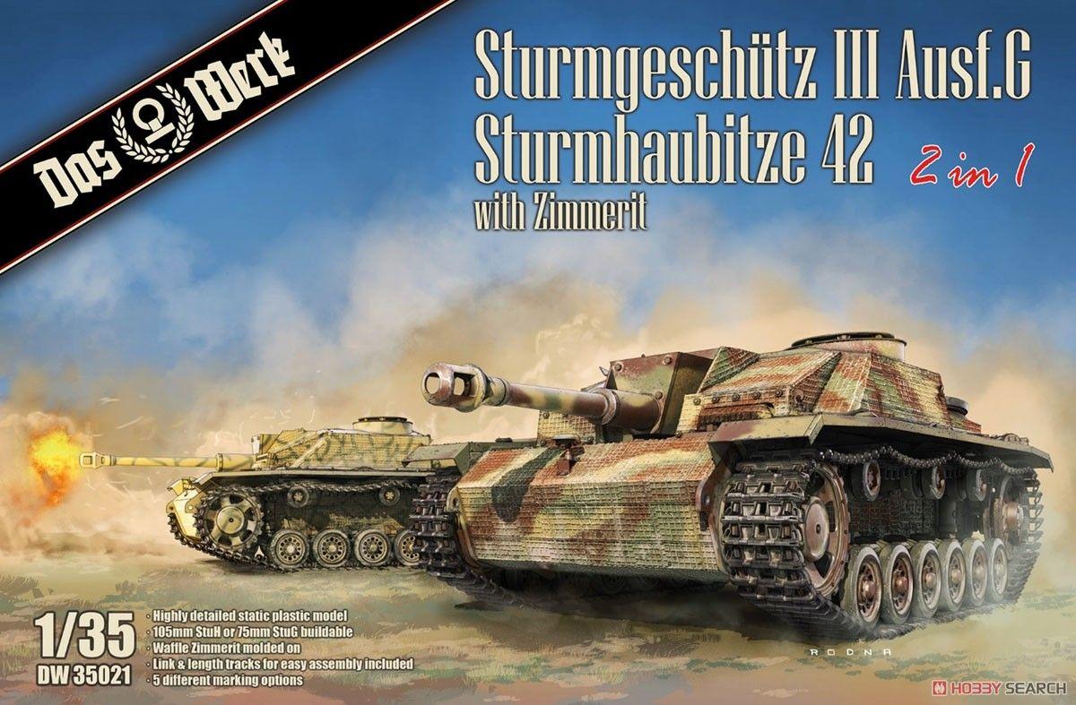 Das Werk DW35021 Sturmgeschutz III Ausf.G and Sturmhaubitze 42 (2 in 1) with Zimmerit