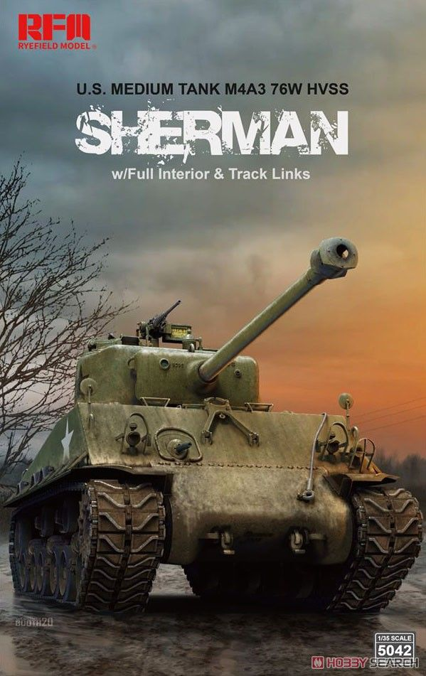 Rye Field Model 5042 M4A3 76W HVSS Sherman with Full Interior & Workable Track Links