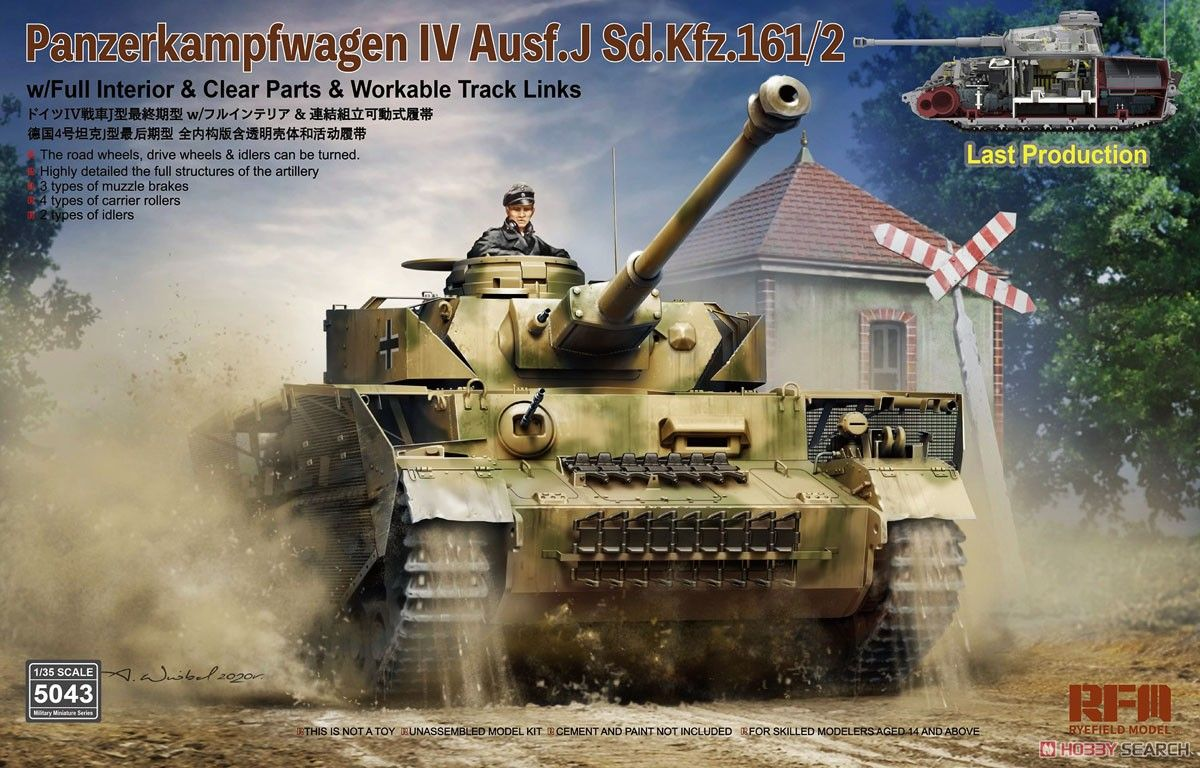 Rye Field Model 5043 Pz.Kpfw.IV Ausf J Last Production with Full Interior & Clear Parts & Workable Track Links