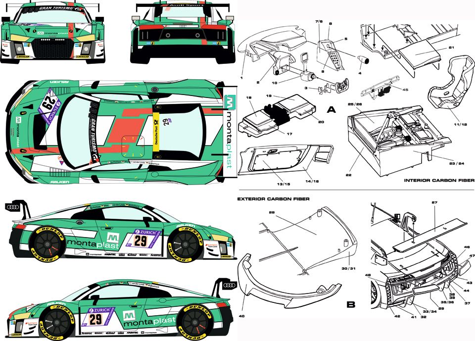Racing Decals 43 RDC24/004 Carbon Fiber Pattern Audi R8 LMS 2016-2018