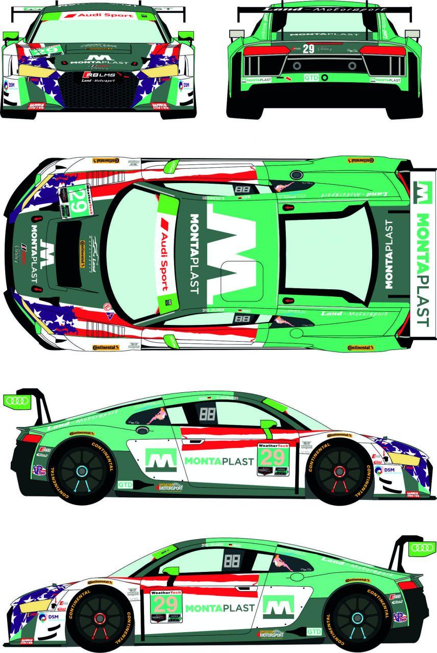 Racing Decals 43 RDE24/038 Audi LMS GT3 #29 IMSA Weathertech Championship - Sahlen's Six Hours of The Glen 2018