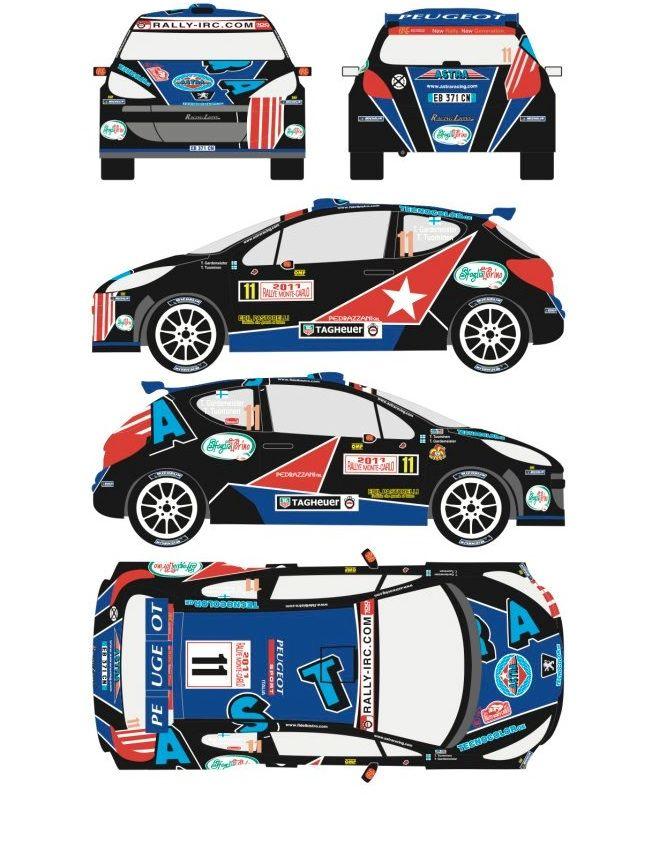 Racing Decals 43 RD24/001 Peugeot 207 S2000 #11 Rally Montecarlo 2011
