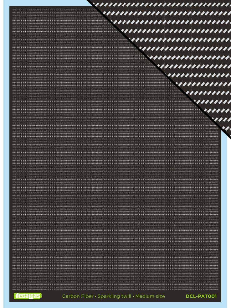 Decalcas PAT001 - Carbon fiber decal sheet: Sparkling twill, medium size