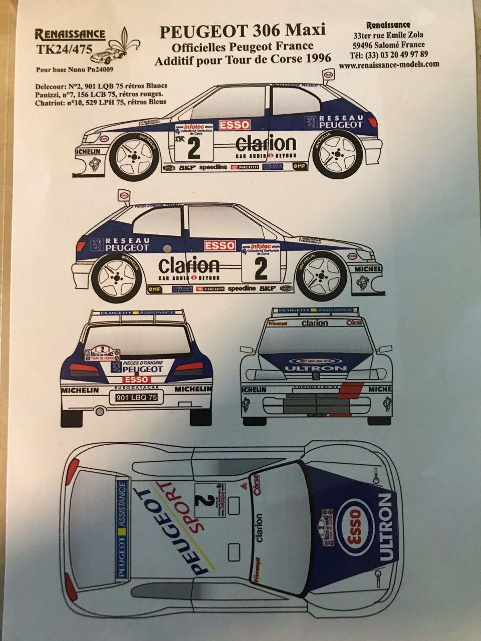 Renaissance TK24/475 Peugeot 306 Maxi Officielles Peugeot France Tour de Corse 1996