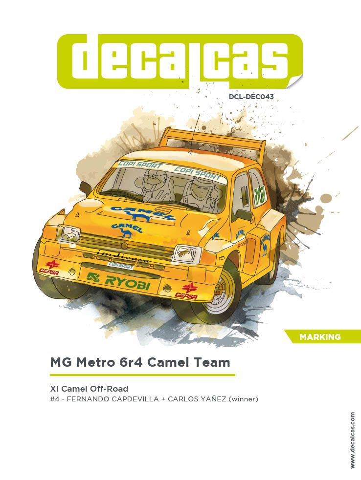 Decalcas DEC043 MG Metro 6r4 - Camel Team - XI Camel Off-Road #4 - Fernando Capdevila + Carlos Yañez (winner)