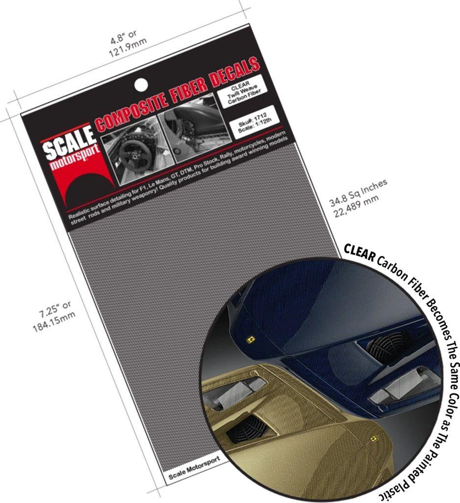 Scale Motorsport Carbon Fiber Twill Weave CLEAR Model Car Waterslide Decal 1700 Series