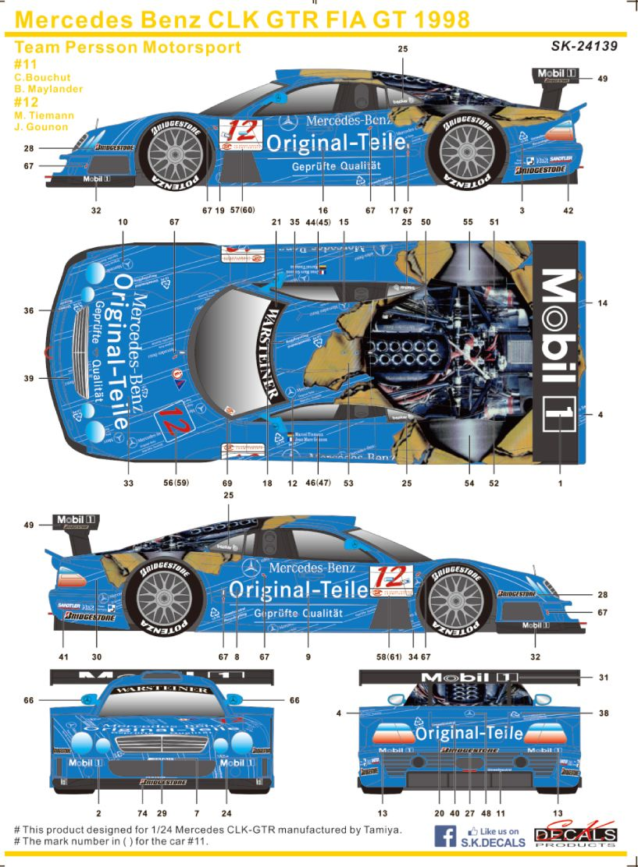 SK Decals SK-24139 Mercedes Benz CLK GTR FIA GT 1998 Team Persson Motorsport